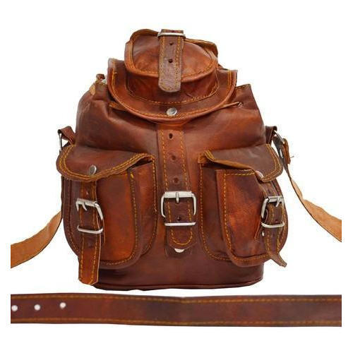 7b80c0646f Brown Handmade Vintage Leather Backpack