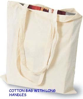 White Cotton Carry Handled Bag, Size/Dimension: 10'  Wide X 12'  High