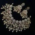 Golden, White Stylish Artificial Brass Necklace Set