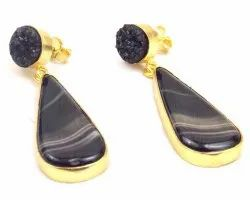 Black Agate and Black Druzy  Gemstone Stud Earring with Gold Plated