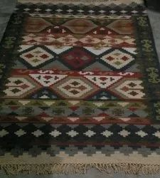 Cotton And Wool Rectangular Handwoven Dhurrie1042, Packaging Type: Roll, Size: 6x4 Feet
