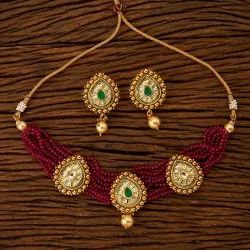 Engagement Antique Choker Necklace Set with Gold Plating 200760