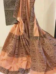 Kalamalini Handblock Printed Pure Cotton Saree, With Blouse, 5.5 m