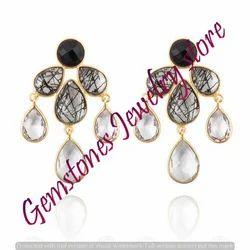 Pendientes Corinto Rojo Gemstone Earring