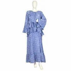 10 Cotton Hand Printed Women's Long Dress India DB23