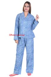 Ladies Night Wear Cotton Hand Block Printed Pajama Set