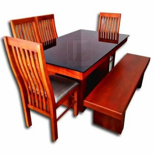 Rectangle Modern Glass Top Wooden Dining Table Set For Home Rs 27500 Set Id 21243732555