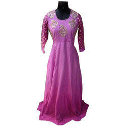 3/4th Sleeves Ladies Party Wear Gown