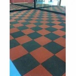 Outdoor Synthetic Red and Black Rubber Sports Flooring