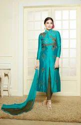 Semi-Stitched Aqua Embroidered Chanderi Cotton Straight Suit