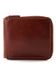 Round Zipped Leather Wallet