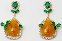 floral design  diamond studded pear shaped yellow sapphire emerald earrings