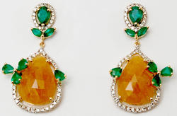 Floral Design Diamond Studded Pear Shaped Yellow Sapphire Emerald Earrings, Weight: 8.438 Gram