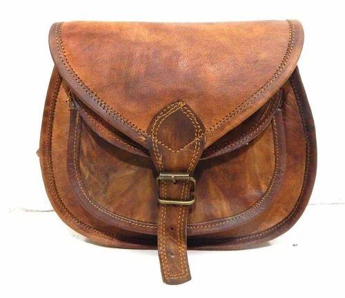 Brown Genuine Handmade Vintage Real Leather Women Shoulder Sling Purse Bag  Saddle, Pure Leather  671ce19619