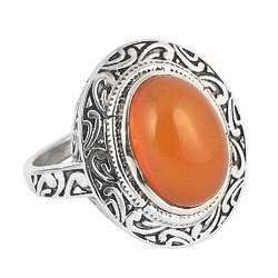 Perfect Orange 925 Silver Carnelian Ring