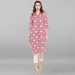 Pink Pure Cotton Kurta With Pant