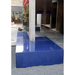 Blue Back Painted Glass
