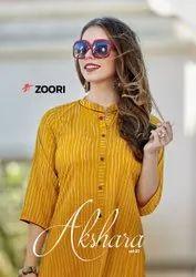 Mix Straight Zoori Akshara Vol-2 Casual Wear Rayon Printed Kurti, Wash Care: Dry Clean