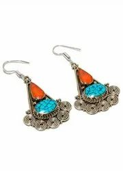 Tribal Afgani, Nepali, Tibatti Hand Made Sterling Silver Plated Earrings