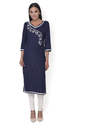 Ritzzy Navy Blue Embroidered Rayon Kurti