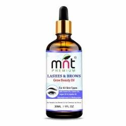 MNT Lashes & Brows Grow Beauty Oil with Argan & Jojoba Oil for Thicker, Longer Eyebrows & Eyelashes