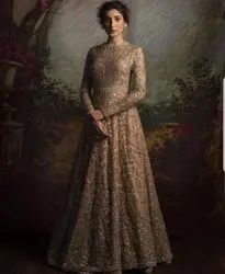 Georgette Gold Sequence Gown