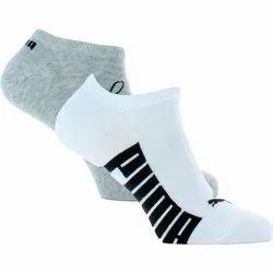 Gray, White Cotton Puma Ankle Socks