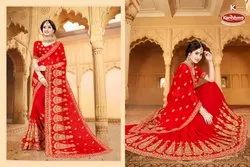 Dyed Georgette Heavy Embroidery & Diamond Work Saree With Lace - Shalimar