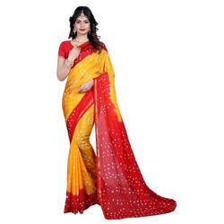 Party Wear Stylish Bandhani Cotton Saree with Blouse Piece, Length: 5.5 m