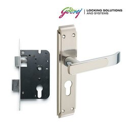 Godrej Gloria Satin 20cm Steel 2 Tone Door Handle with Lock Set