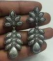 Antique Silver Look Leaf Earrings