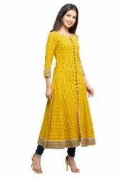 Yash Gallery Women's Cotton Slub Checks Print Anarkali Kurta