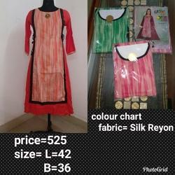 Silk Rayon Casual Wear Round Neck Kurti