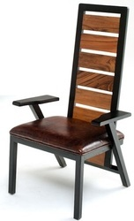Reclaimed Dining Chair, Leather And Wooden Dining Chair
