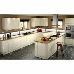 U-Shaped Acrylic High Gloss Kitchen Interior Designing Services