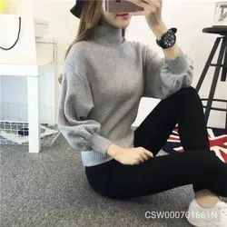 Gray Solid Long Lantern Sleeve Knitted Pullovers Turtleneck Sweater