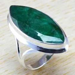 Big Size Emerald Gemstone 925 Sterling Silver Jewelry Fine Ring