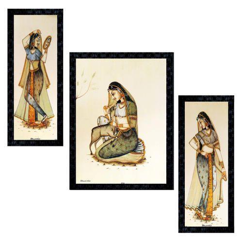 Set Of 3 Modern Art Rajasthani Madhubani Framed Wall Painting Ptu564