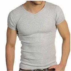 Ribbed V Neck T Shirt