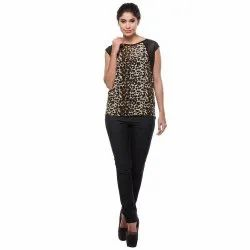 Ladies Printed Sleeveless Georgette Top, Packaging Type: Packet