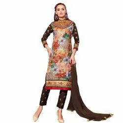 Beige and Brown Coloured Unstitched Salwar Suit