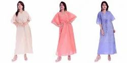 Cotton Slub Solid Long Kaftan Gown Nightwear Caftan