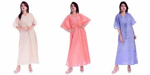 Cotton Slub Solid Long Kaftan Gown Nightwear Caftan, Age: 15-80 Year