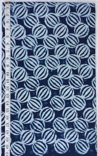 White And Blue Indigo Hand Block Print Designs Fabric For
