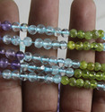 Amethyst, Citrine, Peridot, Crystal Faceted Round Stone Beads