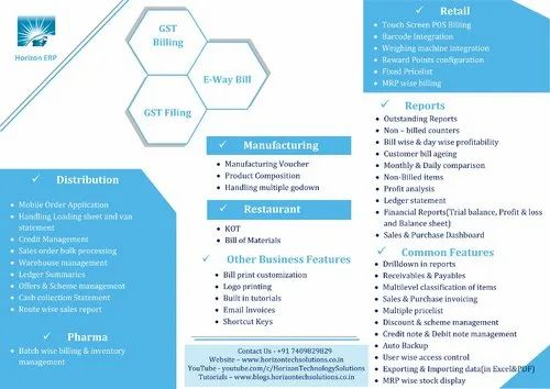 Billing Software - Horizon ERP Single User IT / Technology Services
