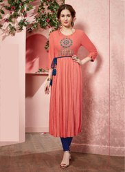 Rayon 3/4th Sleeve Party Wear Designer Kurtis, Size: XXL