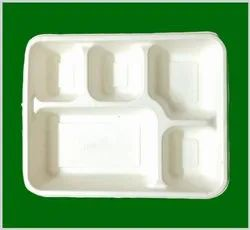 Ecofy White Bagasse 5 Compartment Meal Tray With Lid, For Event and Party Supplies, Size: 275*220*37 Mm