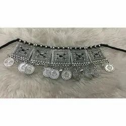 Party Wear Ladies Fancy Oxidized Silver Necklace, Packaging Type: Packet