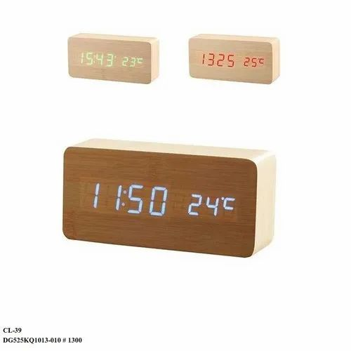 Wooden Rectangle LED Digital Clock